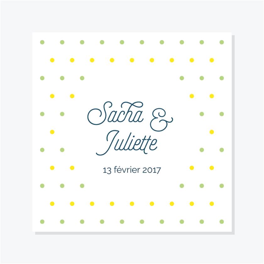 Faire-part Confettis – Jaune & Vert