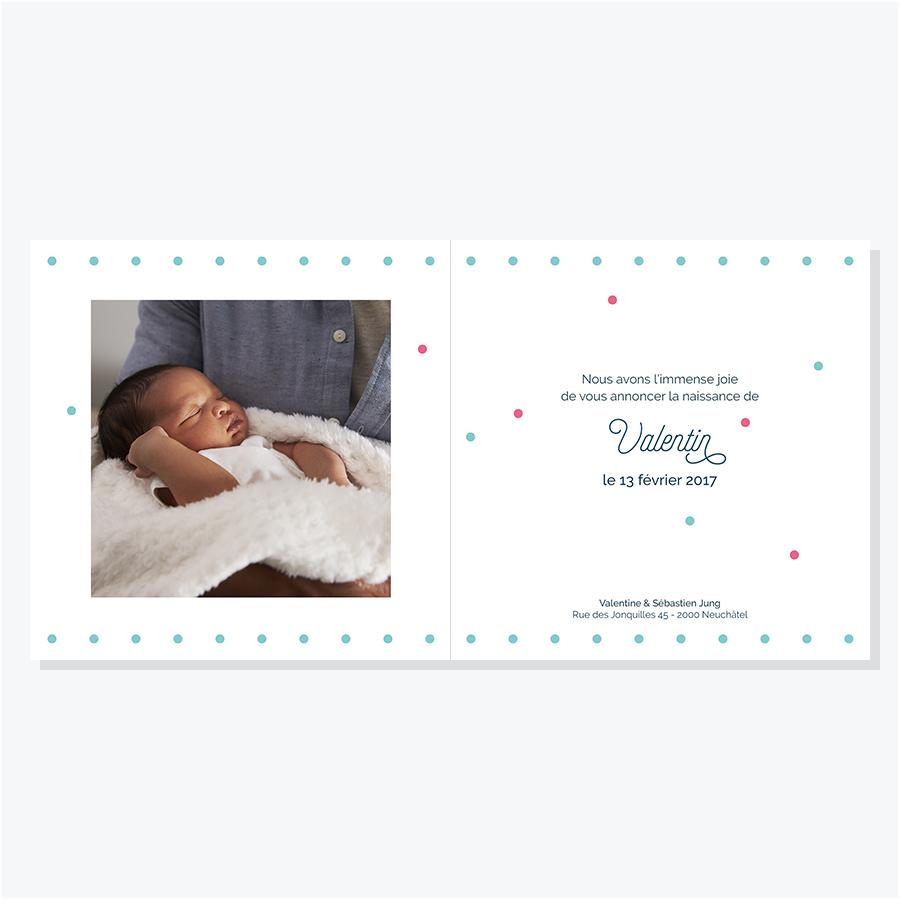 Faire-part Confettis – Rose & Turquoise – Intérieur