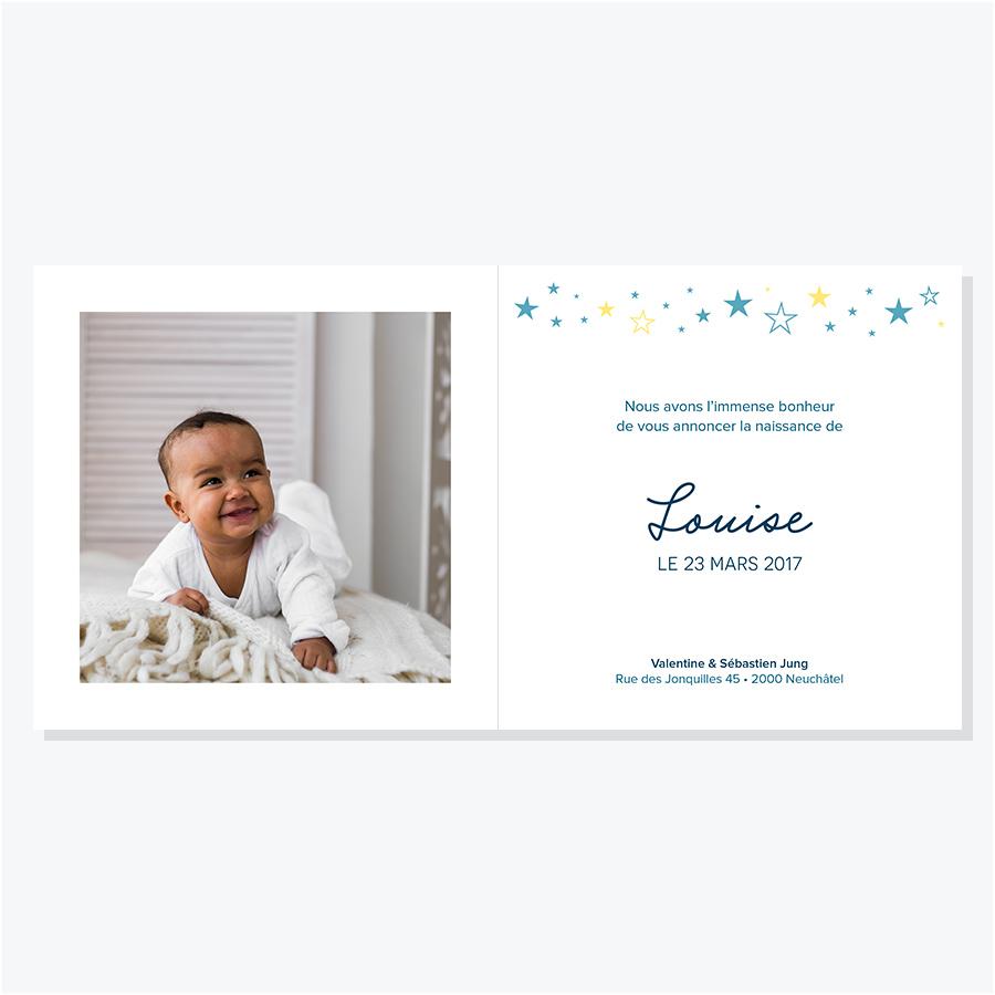 Faire-part naissance – Étoiles fond aquarelle