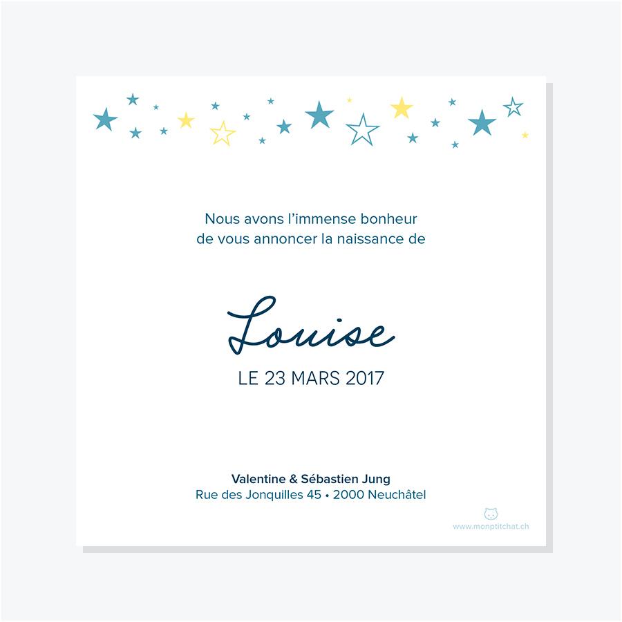Faire-part naissance – Étoiles fond aquarelle, verso carte simple