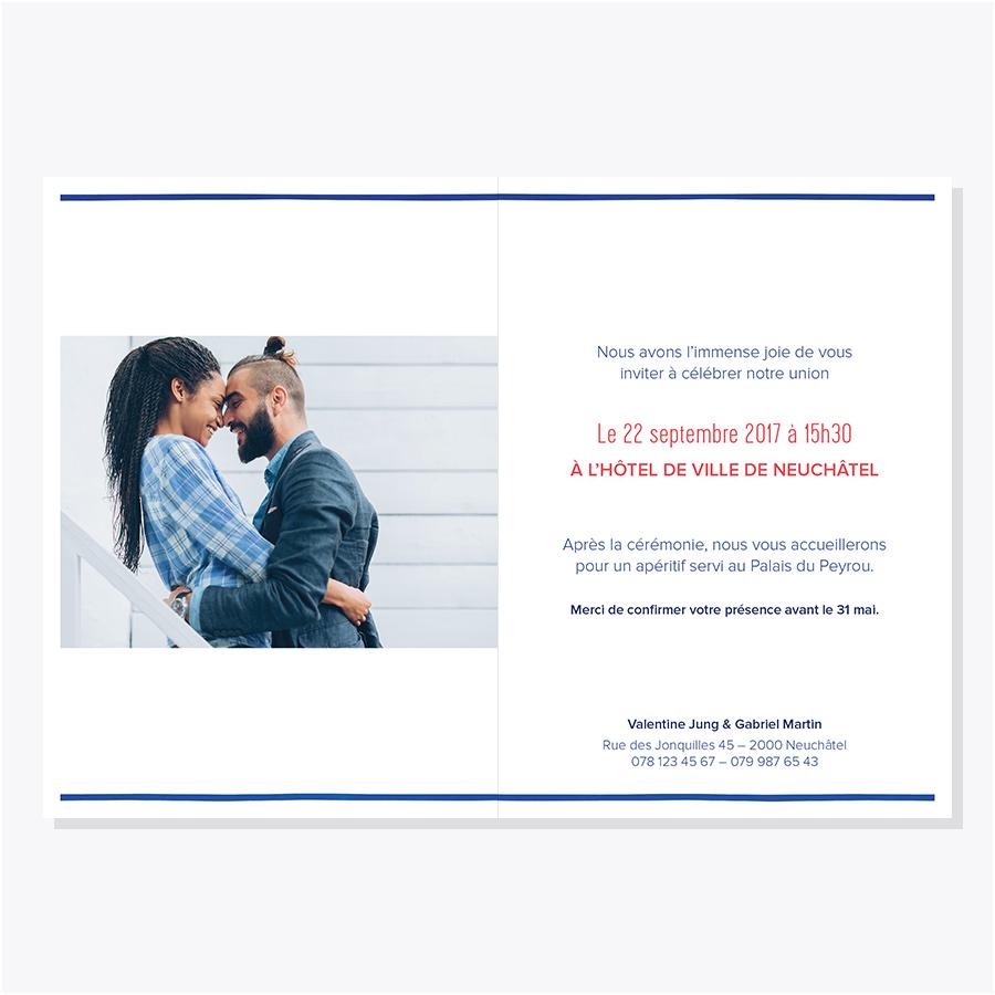 Faire-part mariage – Marinière – Intérieur avec photo