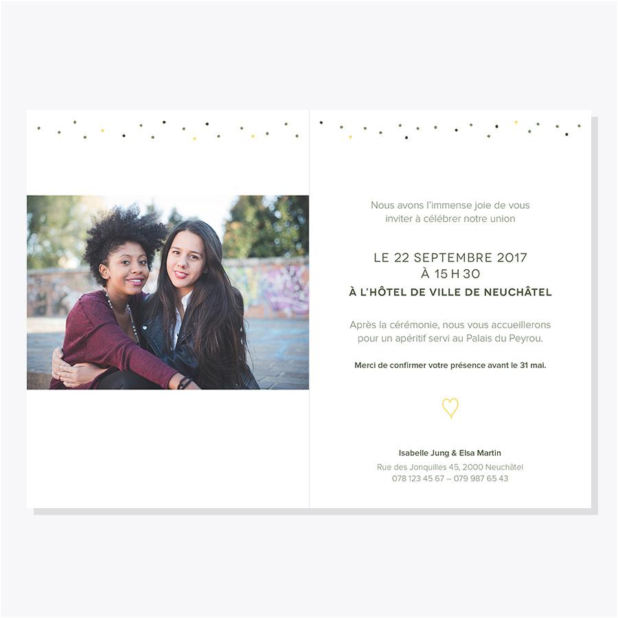 Faire-part mariage – Pois – Jaune & olive – Intérieur avec photo
