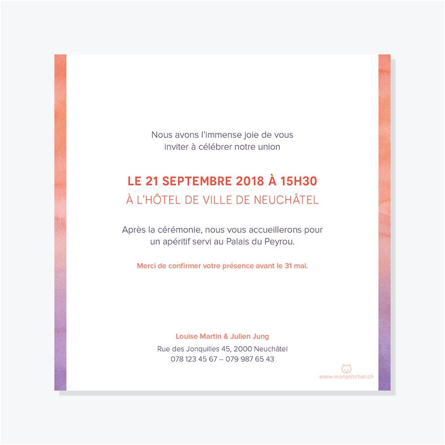 Faire-part mariage – Aquarelle – Pivoine