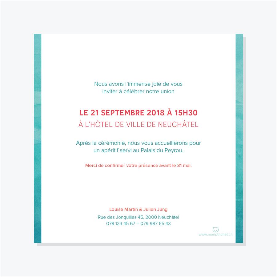 Faire-part mariage – Aquarelle – Turquoise