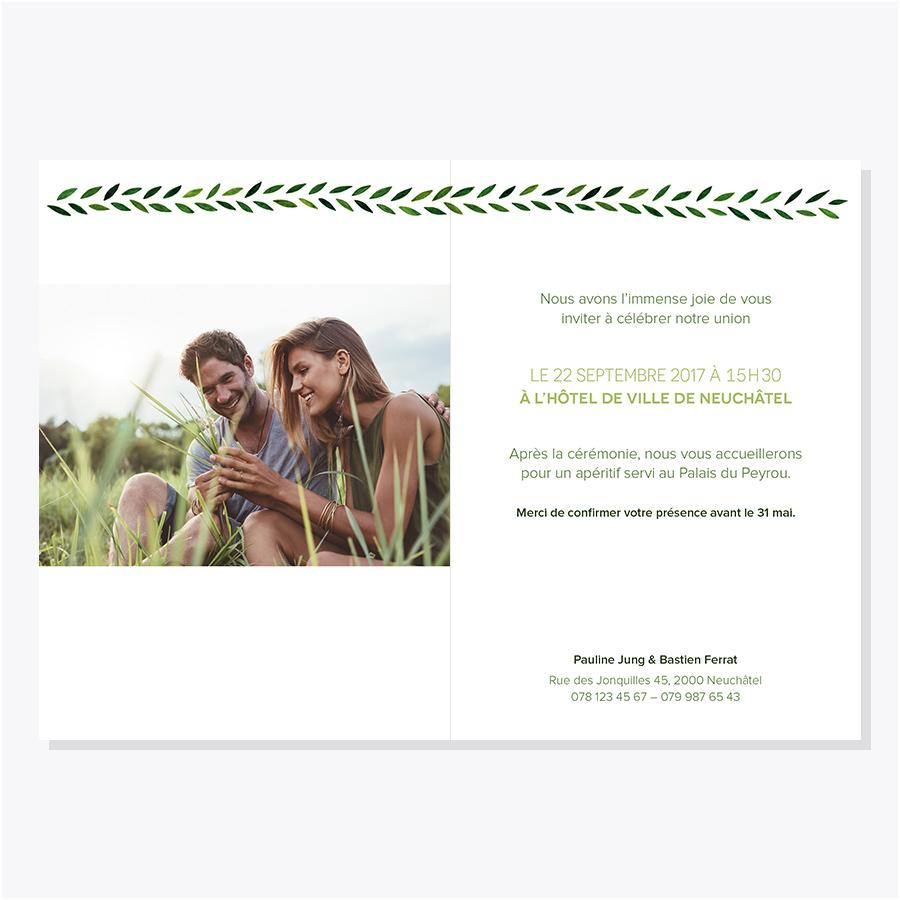 Faire-part mariage – Botanique – Intérieur