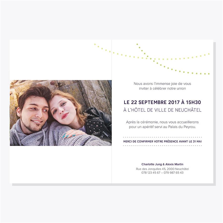 Faire-part mariage – Fanions – Intérieur