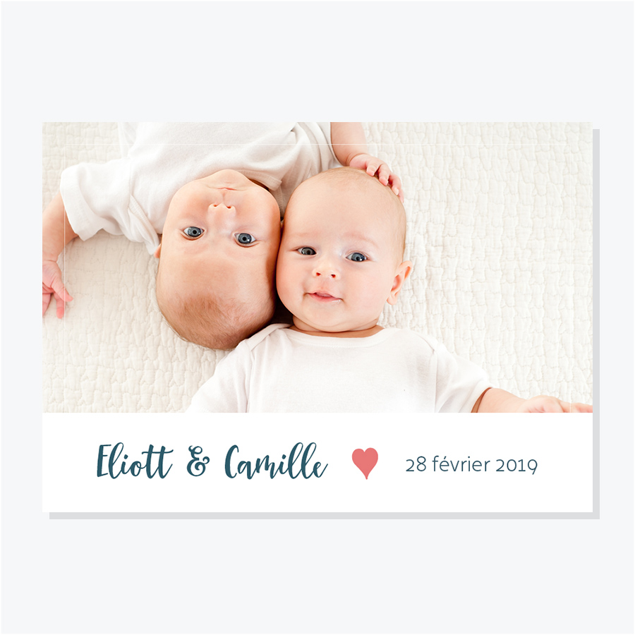 Faire-part naissance pour jumeaux avec une photo