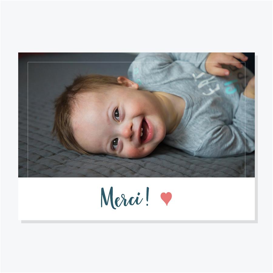 Carte de remerciements de naissance avec une photo