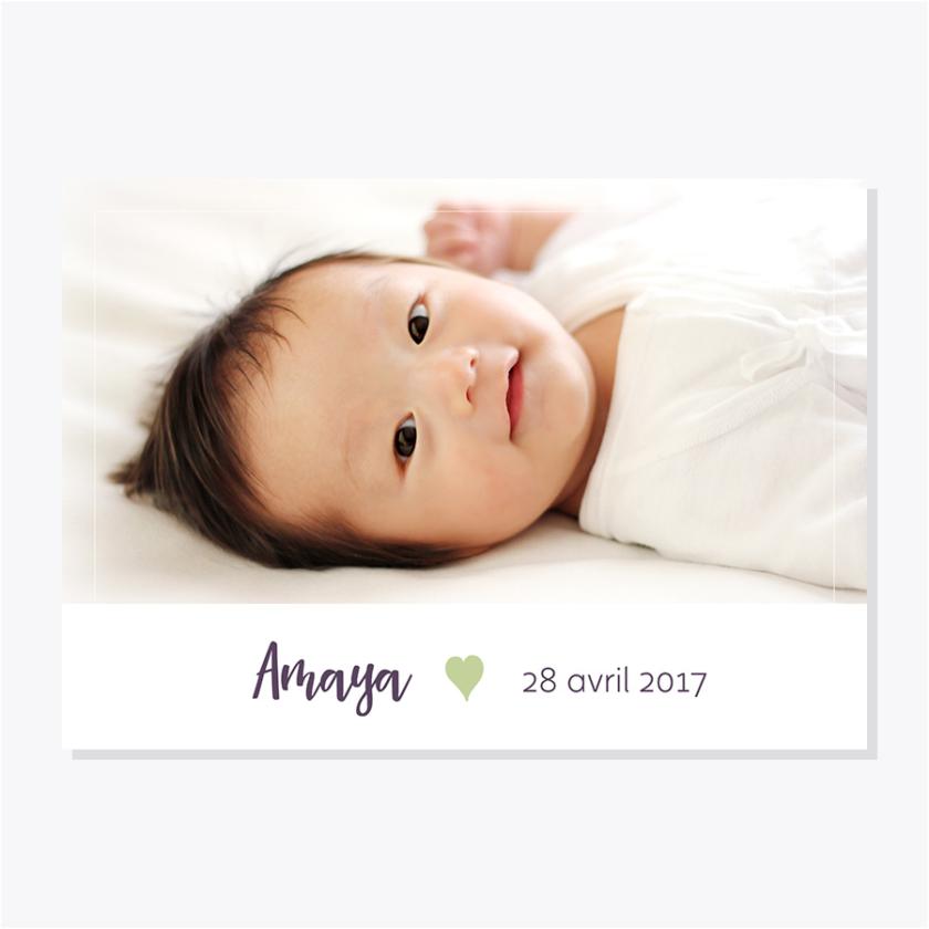 Faire-part naissance – Photo – Vert