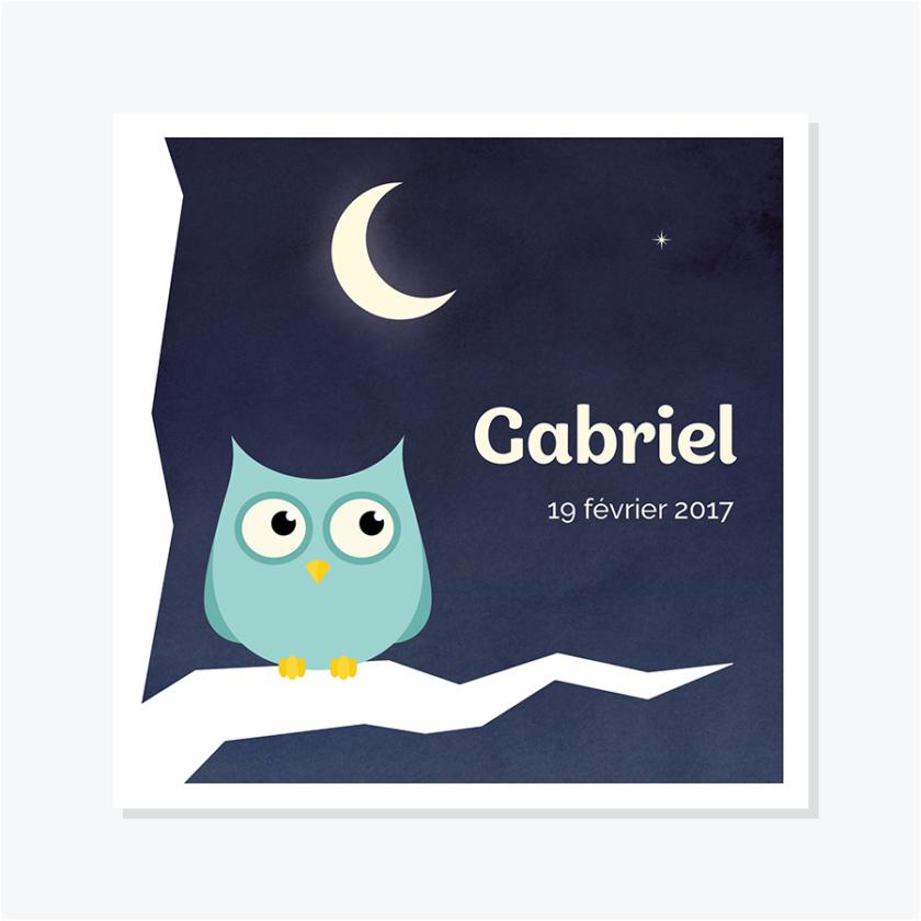 Faire-part naissance – Hibou – Oiseau de nuit