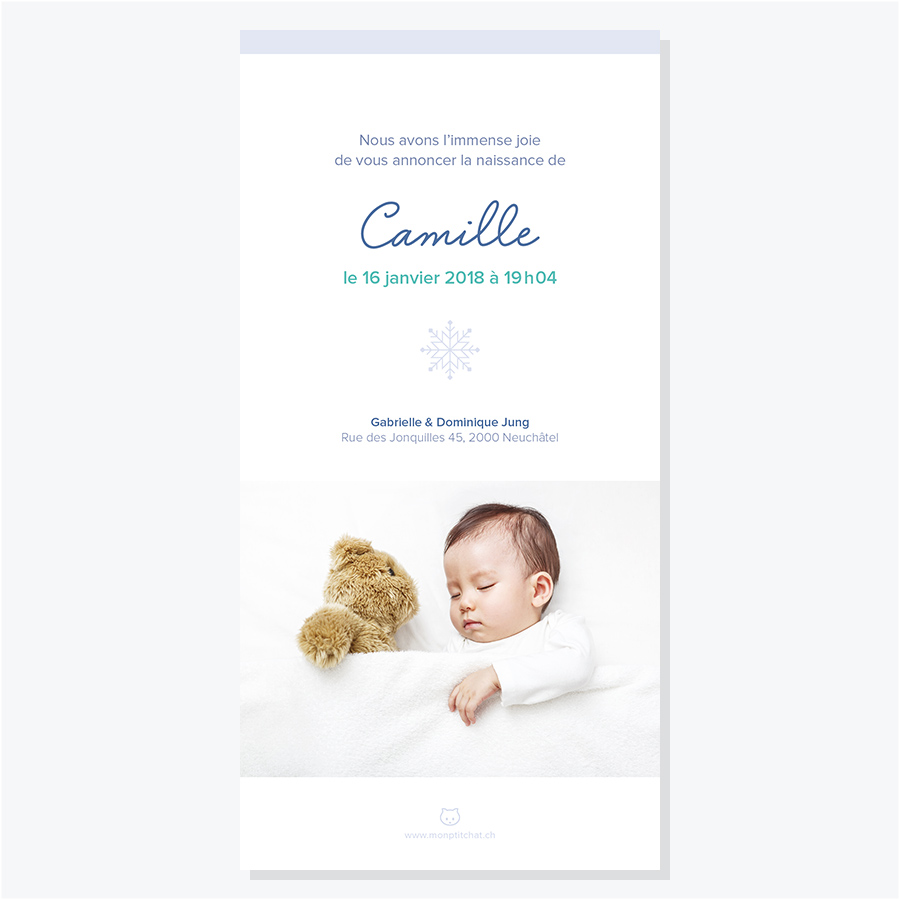 Faire-part naissance – Printemps, dos avec photo