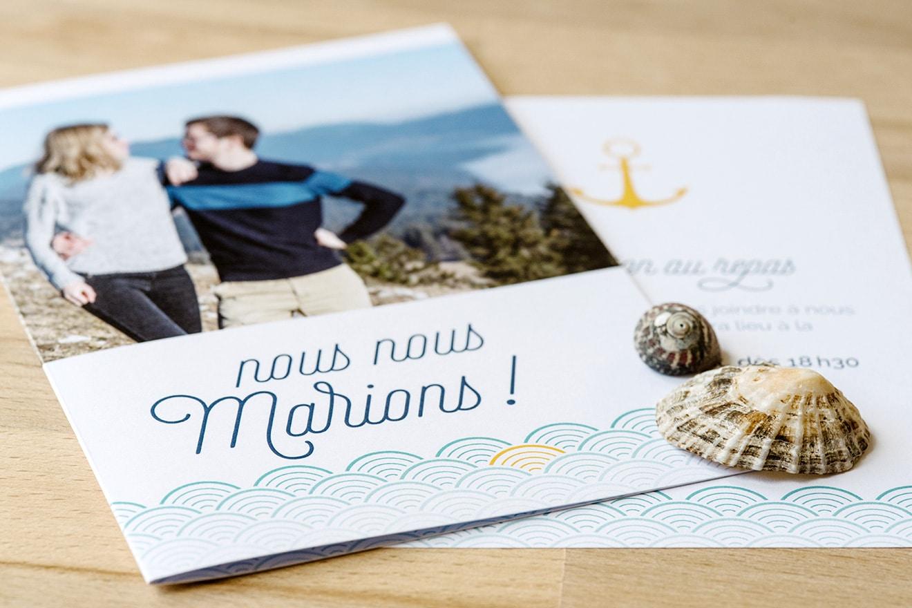 Faire-part mariage thème marin