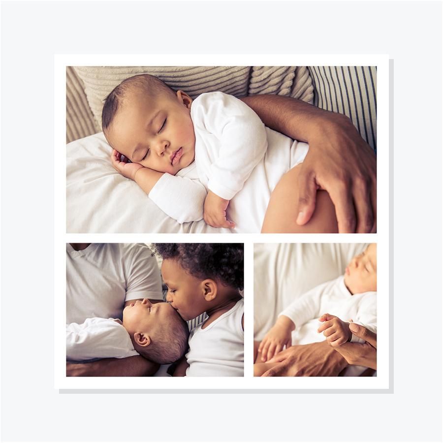Faire-part naissance – Portrait trois photos