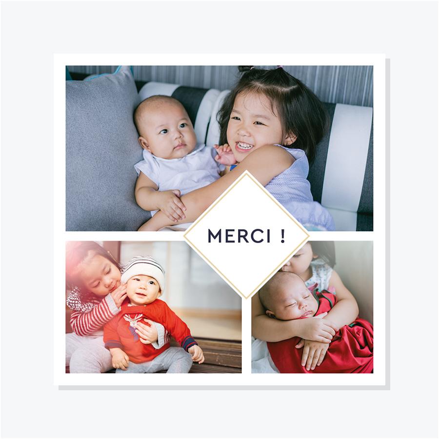 Carte de remerciements naissance – Portrait trois photos