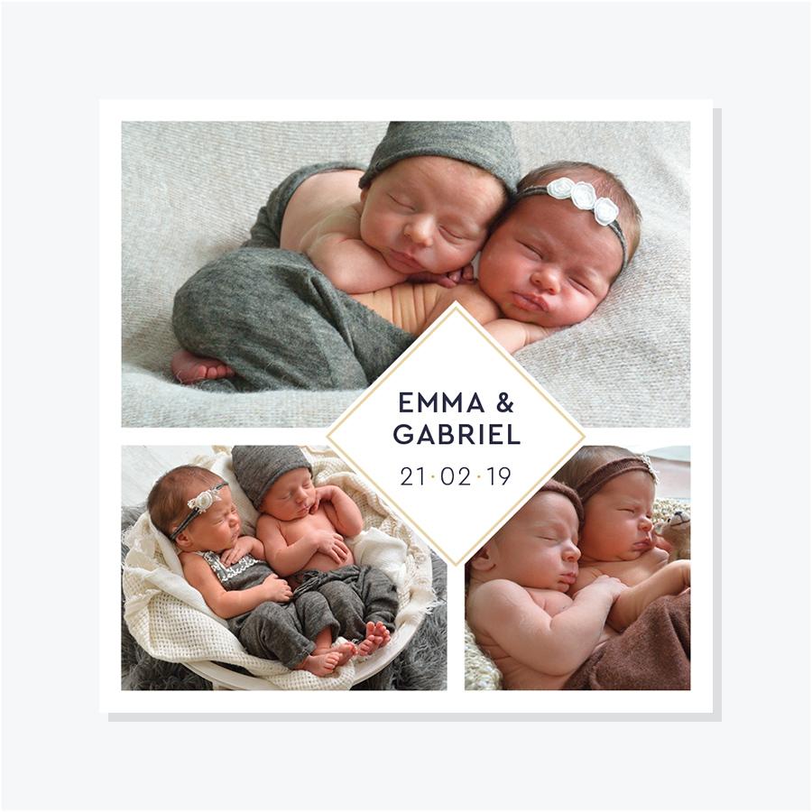 Faire-part naissance pour jumeaux – Portrait trois photos