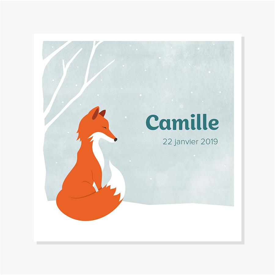 Faire-part naissance ou adoption – Flocon, renard assis dans un paysage enneigé