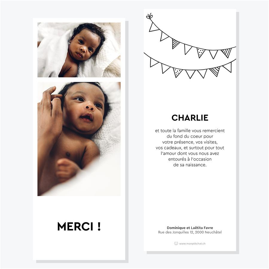 Carte de remerciements de naissance – Modèle photomaton 2, 3 ou 4 photos