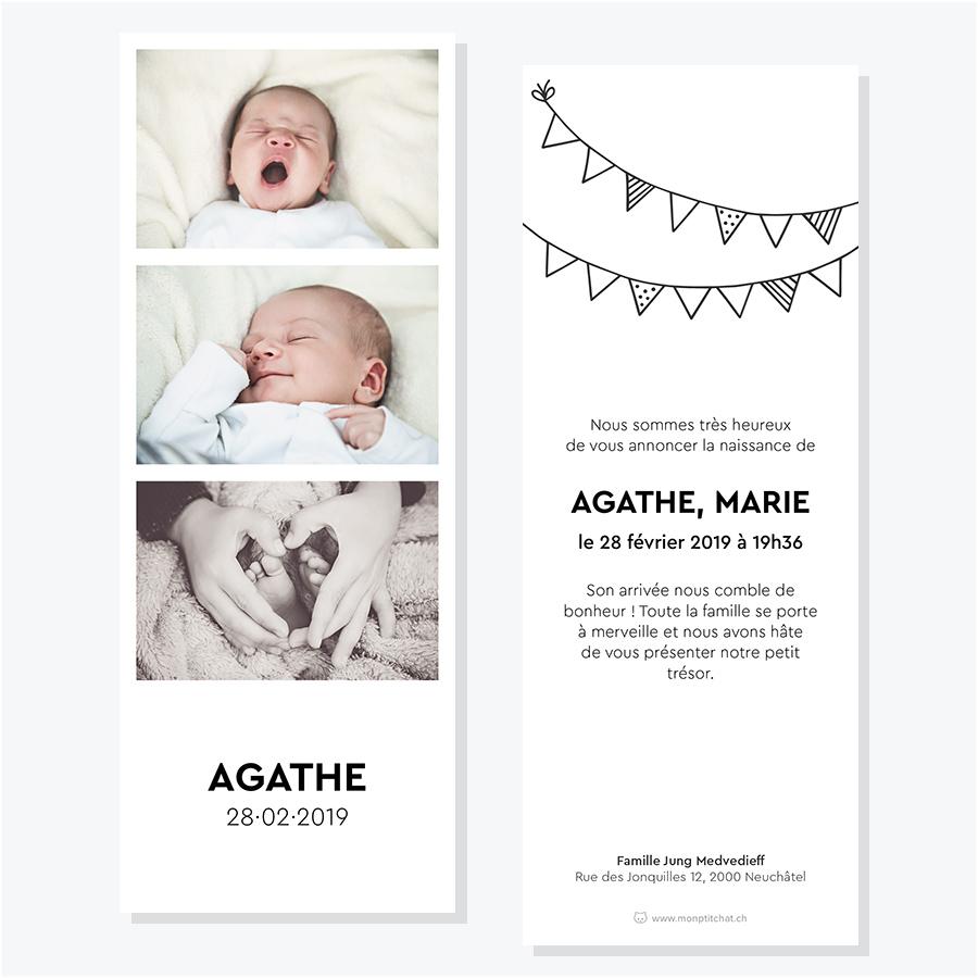 Faire-part naissance ou adoption – Modèle photomaton 2, 3 ou 4 photos