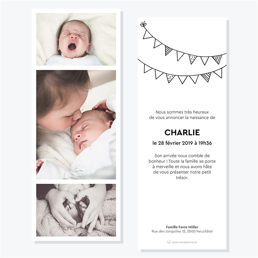 Faire-part naissance ou adoption – Modèle photomaton, verso